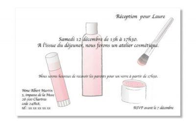 Invitation pour un atelier cosmetique
