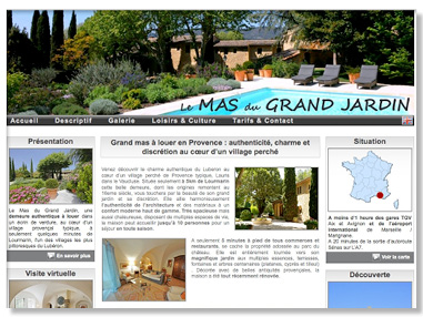 Bandeau du site de location le mas du grand jardin