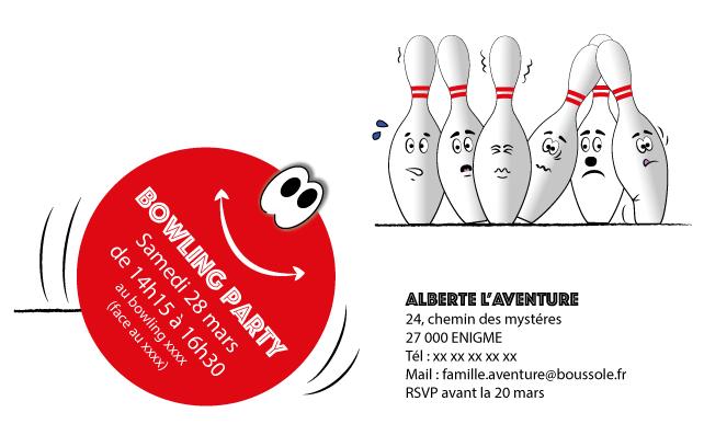 Invitation à un anniversaire au bowling
